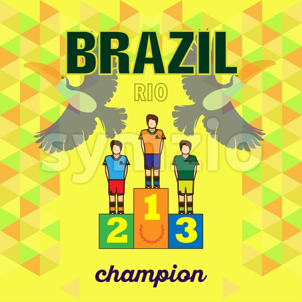 Abstract brazil and rio winners podium design with toucan birds over yellow background. Digital vector image. Stock Vector