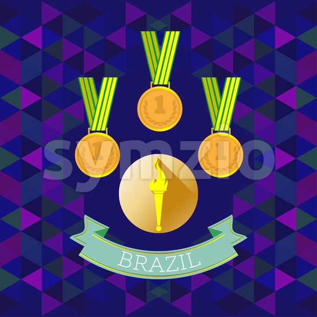 Abstract Brazil design with first place gold medals over blue background. Digital vector image Stock Vector