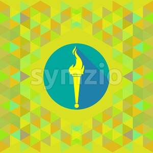 Abstract yellow burning torch on blue circle over yellow background. Digital vector image Stock Vector