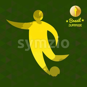Brazil summer soccer sport card with an yellow abstract character hitting a ball. Digital vector image Stock Vector