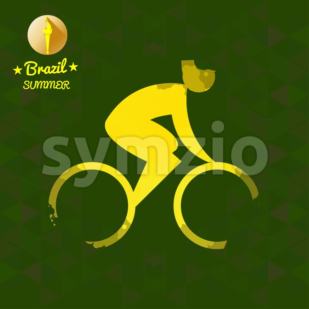 Brazil summer bicycle sport card with an yellow abstract character cycling. Digital vector image