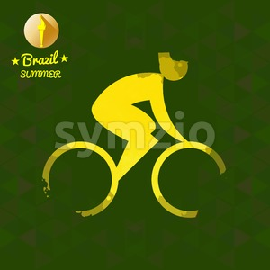 Brazil summer bicycle sport card with an yellow abstract character cycling. Digital vector image Stock Vector