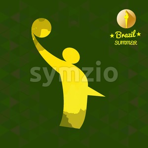 Brazil summer sport card with an yellow abstract volley player. Digital vector image Stock Vector