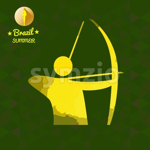 Brazil summer sport card with an yellow abstract archery player. Digital vector image Stock Vector