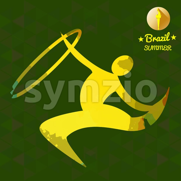 Brazil summer sport card with an yellow abstract rhythmic hoop gymnastics player. Digital vector image Stock Vector
