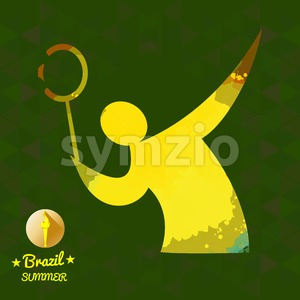 Brazil summer sport card with an yellow abstract tennis player. Digital vector image Stock Vector