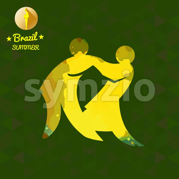 Brazil summer sport card with two abstract yellow wrestlers. Digital vector image Stock Vector
