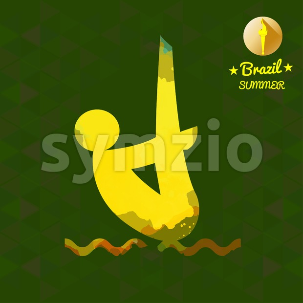 Brazil summer sport card with an yellow abstract sportsman jumping in water. Digital vector image Stock Vector