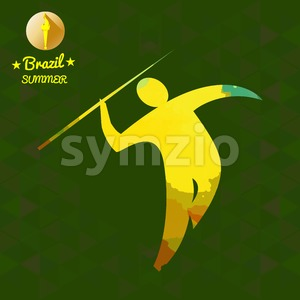 Brazil summer sport card with an yellow abstract spear thrower. Digital vector image Stock Vector