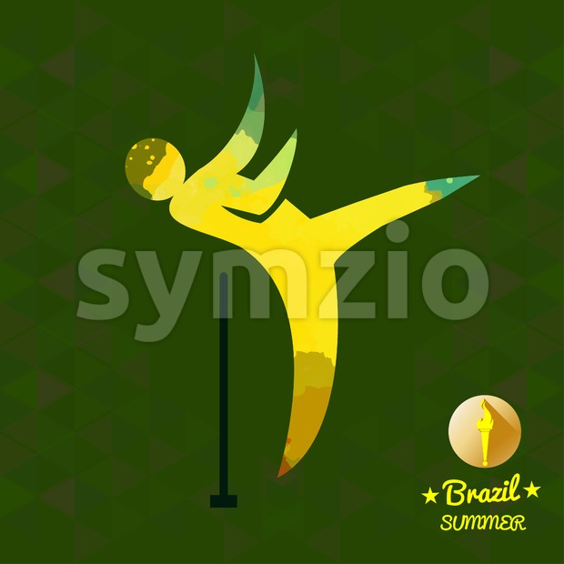 Brazil summer sport card with an yellow abstract hammer thrower. Digital vector image Stock Vector