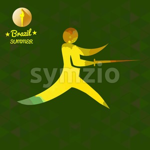 Brazil summer sport card with an yellow abstract fencer. Digital vector image Stock Vector
