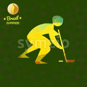 Brazil summer sport card with an yellow abstract hockey player. Digital vector image Stock Vector