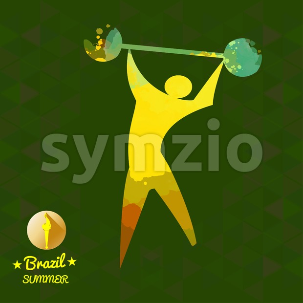 Brazil summer sport card with an yellow abstract sportsman. Digital vector image