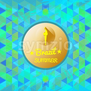 Abstract Brazil summer design with burning flame logo in a circle over colored background with triangles. Digital vector image Stock Vector