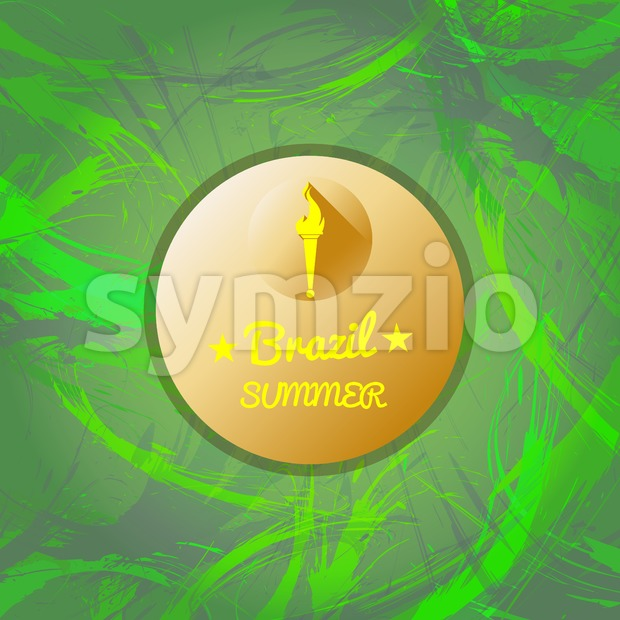 Abstract Brazil summer design with burning flame logo in a circle over green background. Digital vector image Stock Vector