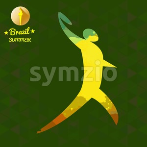 Brazil summer sport card with an yellow abstract discus thrower. Digital vector image Stock Vector