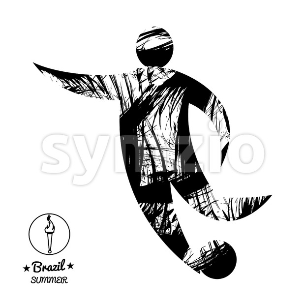 Brazil summer soccer sport card with an abstract character hitting a ball, in black outlines. Digital vector image Stock Vector