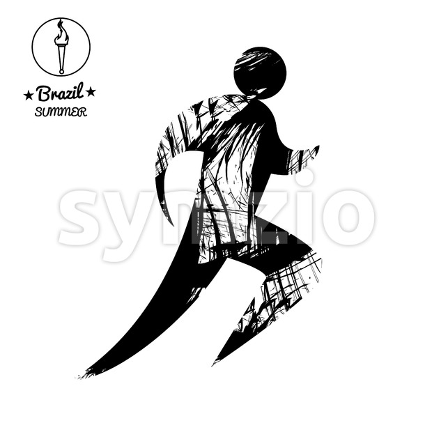 Brazil summer running sport card with an abstract runner, in black outlines. Digital vector image Stock Vector