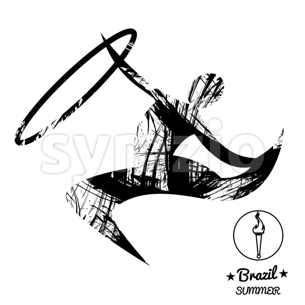 Brazil summer sport card with an abstract rhythmic hoop gymnastics player, in black outlines. Digital vector image Stock Vector