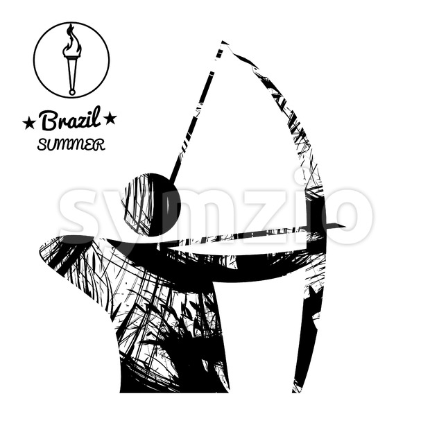 Brazil summer sport card with an abstract archery player, in black outlines. Digital vector image