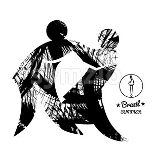 Brazil summer sport card with two abstract wrestlers, in black outlines. Digital vector image Stock Vector