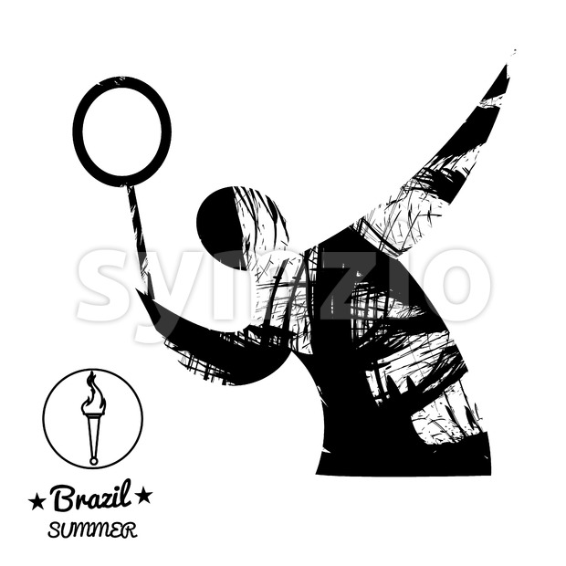 Brazil summer sport card with an abstract tennis player, in black outlines. Digital vector image Stock Vector