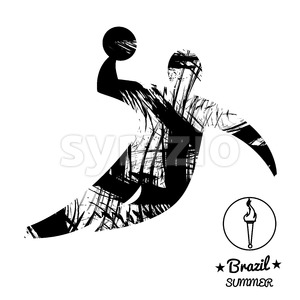 Brazil summer sport card with an abstract volley player jumping, in black outlines. Digital vector image Stock Vector