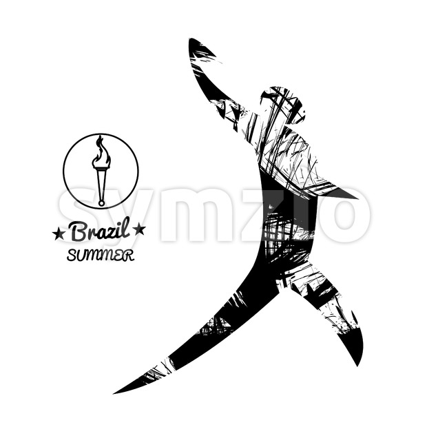 Brazil summer sport card with an abstract discus thrower, in black outlines. Digital vector image Stock Vector