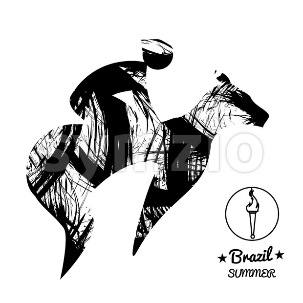 Brazil summer sport card with an abstract horse rider, in black outlines. Digital vector image Stock Vector