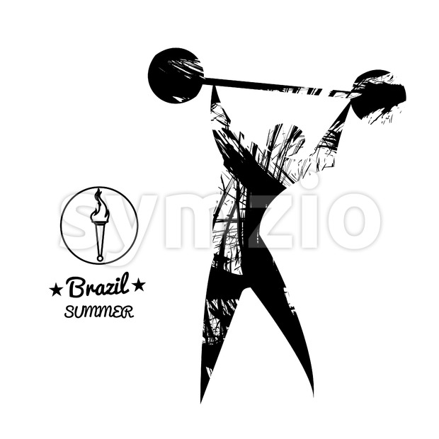 Brazil summer sport card with an abstract weightlifter, in black outlines. Digital vector image Stock Vector