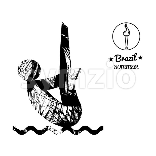 Brazil summer sport card with an abstract sportsman jumping in water, in black outlines. Digital vector image