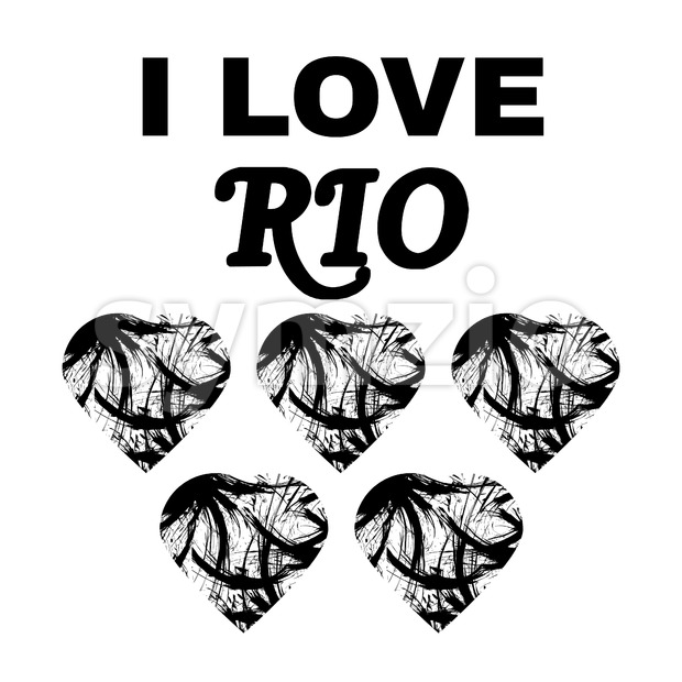 Brazil I love rio design with text and hearts, in black outlines. Digital vector image
