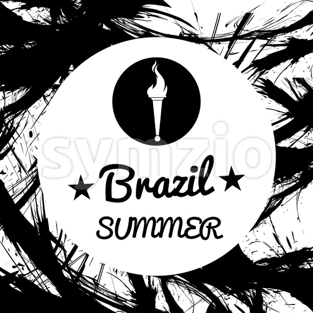 Abstract Brazil summer design with burning flame logo in a circle, in black outlines. Digital vector image Stock Vector