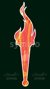 Abstract red burning torch on over dark green background with brazil and summer text. Digital vector image Stock Vector