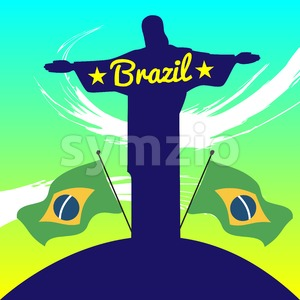 Abstract Brazil design with statue and country flags. Digital vector image Stock Vector