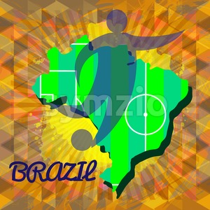 Abstract Brazil design with country map and soccer player silhouette. Digital vector image Stock Vector