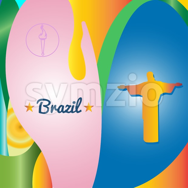 Abstract Brazil and statue design over colored background. Digital vector image