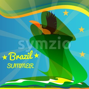 Abstract summer brazil card with toucan bird and stars over rays and sea background. Digital vector image Stock Vector