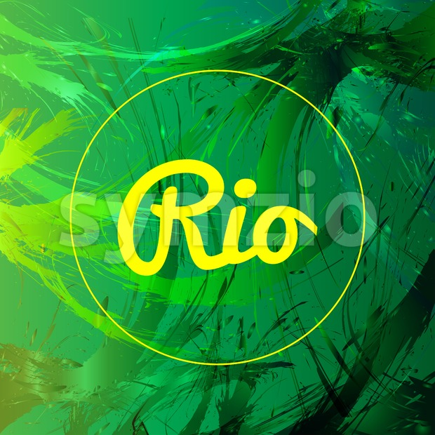 Abstract rio card design with yellow circle over green splash painted background. Digital vector image Stock Vector