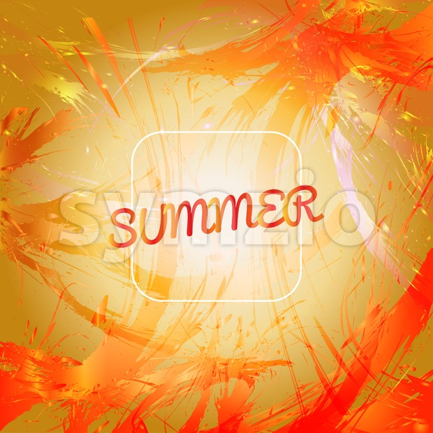 Abstract summer card design with white frame over orange splash painted background. Digital vector image Stock Vector