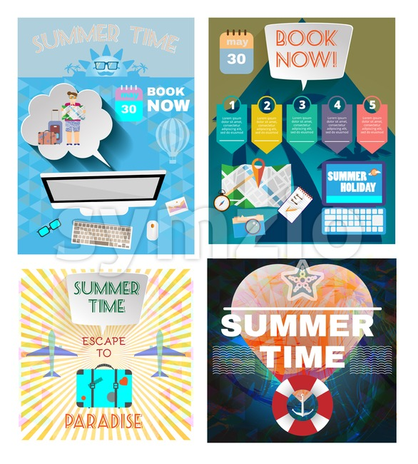Digital vector image. Summer time orange infographic set, with book now text, computer and travel accessories, Flat style Stock Vector