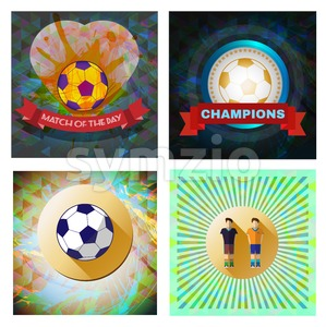 Digital vector image. Abstract football and soccer infographic set, match of the day text, a playing ball and heart. Flat style Stock Vector