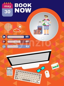 Summer infographic, with book now text, computer and travel accessories, Digital vector image Stock Vector