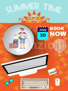 Summer time orange infographic, with book now text, computer and travel accessories, Digital vector image Stock Vector