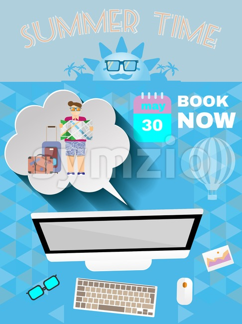 Summer time blue infographic, with book now text, computer and travel accessories, Digital vector image Stock Vector