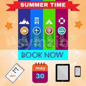 Summer time orange infographic, with book now text, gadgets and travel accessories, Digital vector image Stock Vector