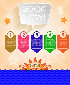 Summer time orange infographic, with book now text, icons and travel accessories, Digital vector image Stock Vector