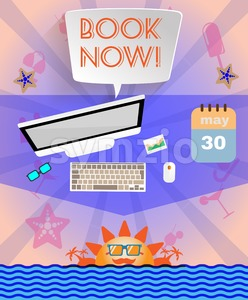 Summer time purple infographic, with book now text, icons and travel accessories. Digital vector image Stock Vector