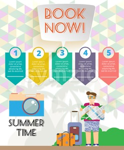 Summer time infographic, with book now text, camera and travel accessories. Digital vector image Stock Vector