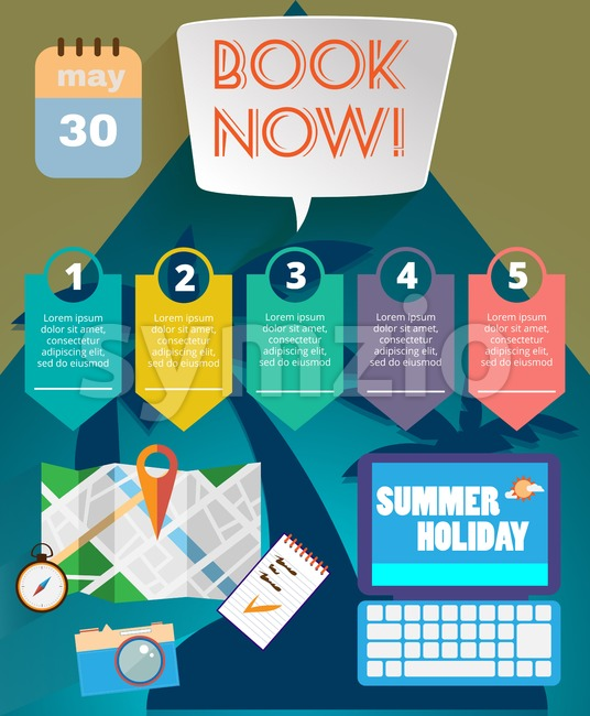 Summer time infographic, with book now text, camera and travel accessories, Digital vector image Stock Vector